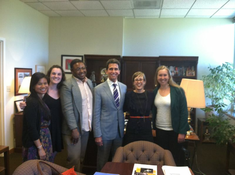 Workshop staff with Senator Leno