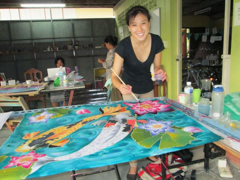 """Kendra doing """"batik"""" (traditional silk dying/painting) while living in Thailand last year."""
