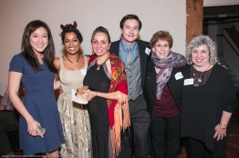 Nadya Bratt (middle) with Performing Arts Workshop Board Members (L-R) Kendra Wong, RoseMarie Maliekel, Reed Mayfield, Debbie Molof, and Marilyn Zoller Koral.